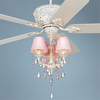pink chandelier ceiling fan photo - 6