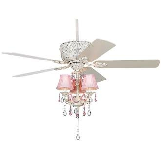 pink chandelier ceiling fan photo - 7