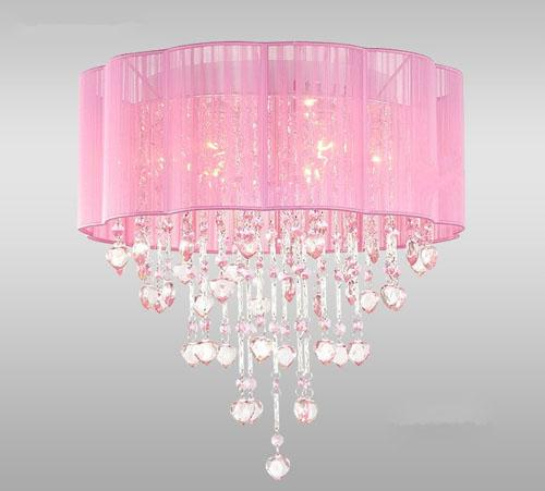 pink chandelier lamp photo - 9