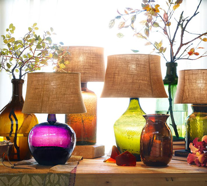 pottery barn glass lamps photo - 1