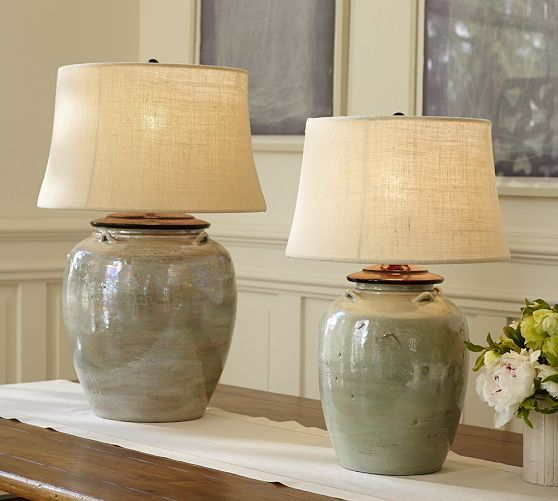 pottery barn glass lamps photo - 8