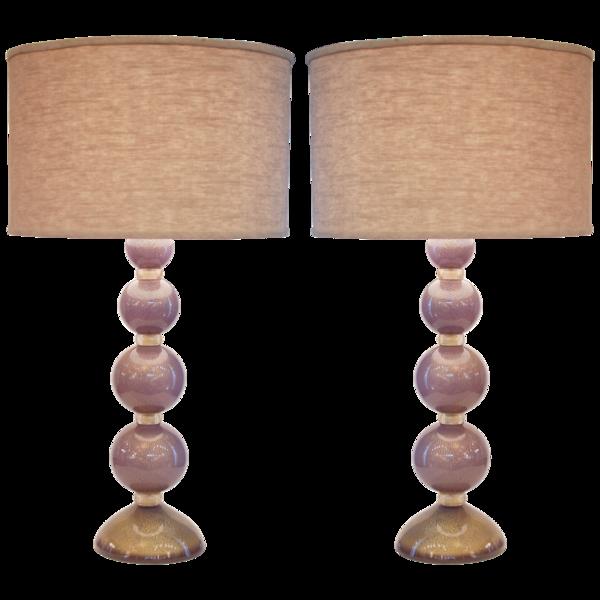 purple glass lamps photo - 3