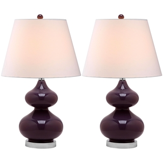 purple glass table lamp photo - 5