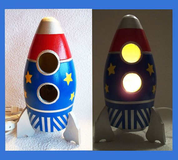 rocket ship lamp photo - 3