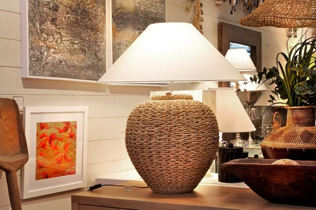 seagrass table lamp photo - 6