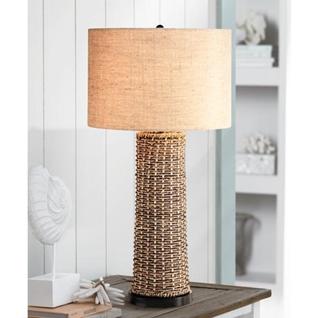 seagrass table lamp photo - 7