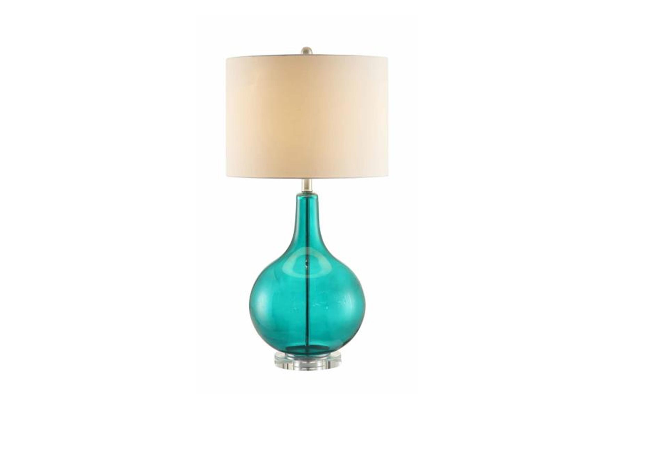 seeded glass table lamp photo - 9