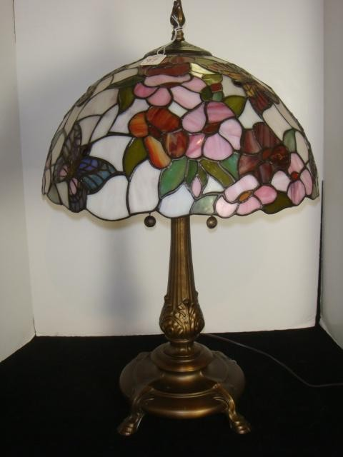 stained glass butterfly lamp photo - 6