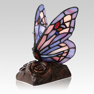 stained glass butterfly lamp photo - 7
