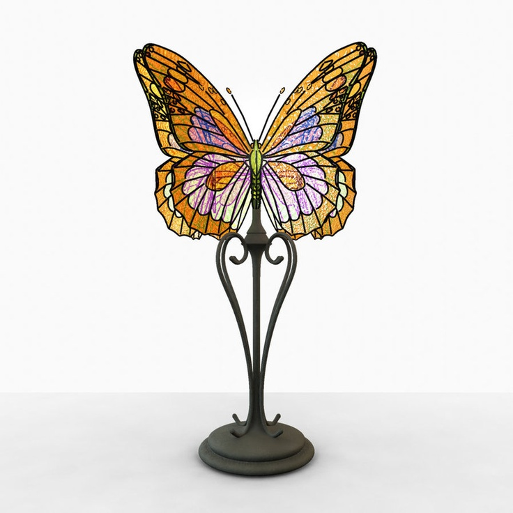 stained glass butterfly lamp photo - 8