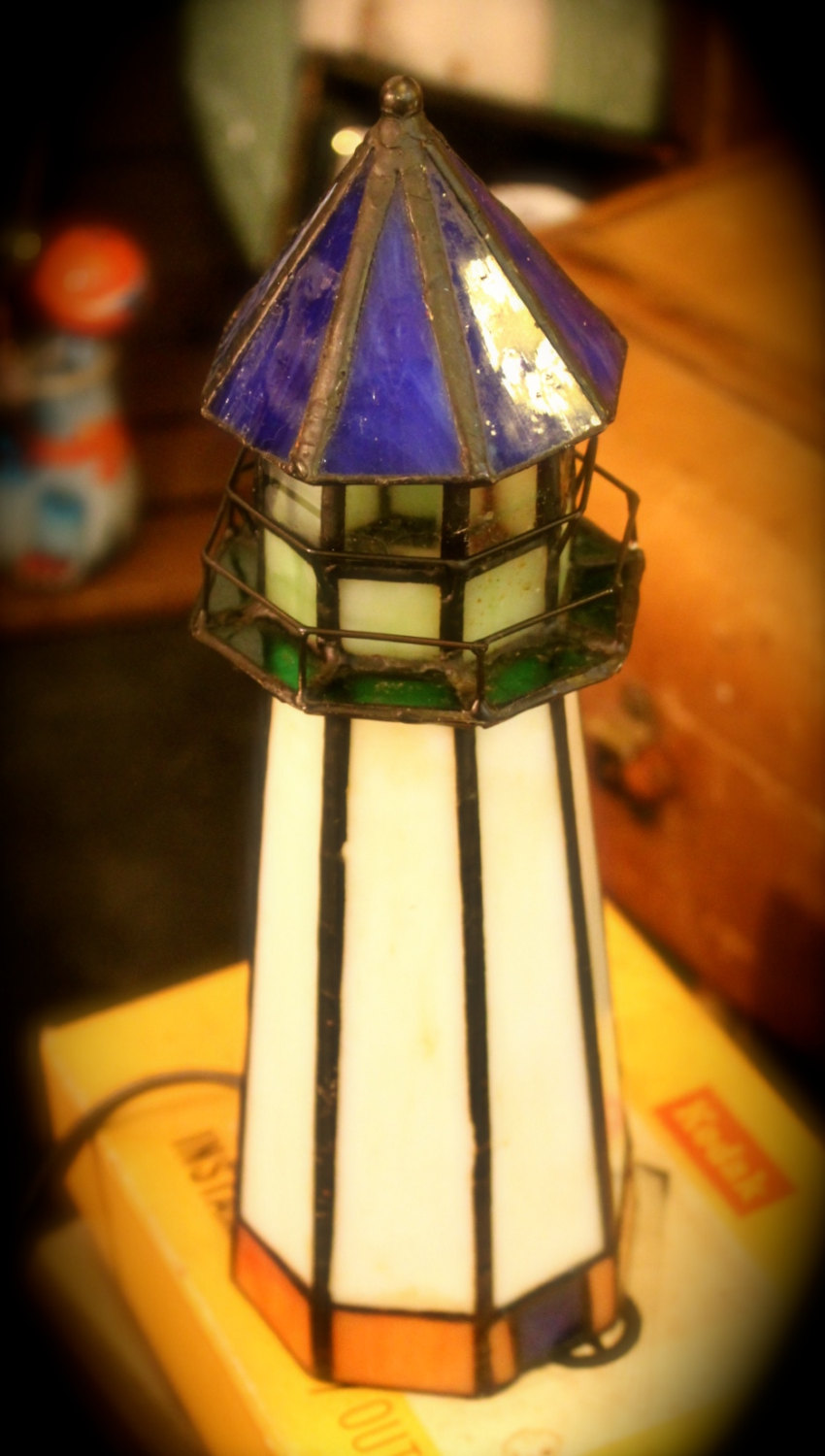 stained glass lighthouse lamp photo - 4