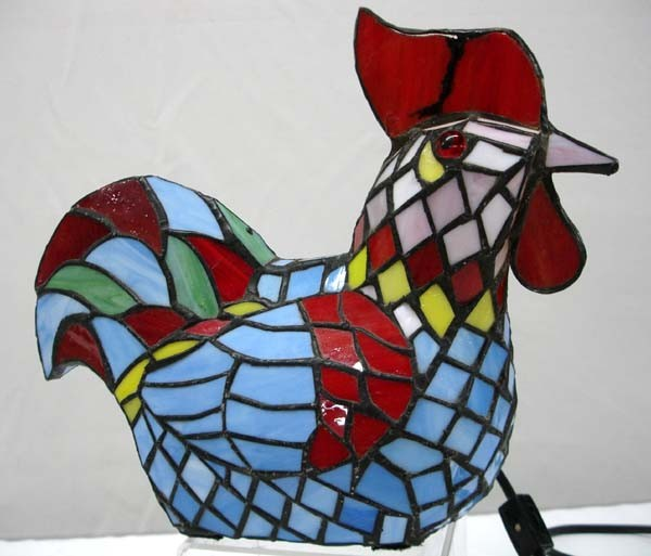stained glass rooster lamp photo - 8