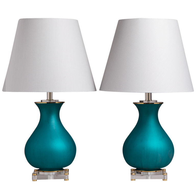 Teal Glass Lamp Creation Of Harmony Within The Room Warisan Lighting