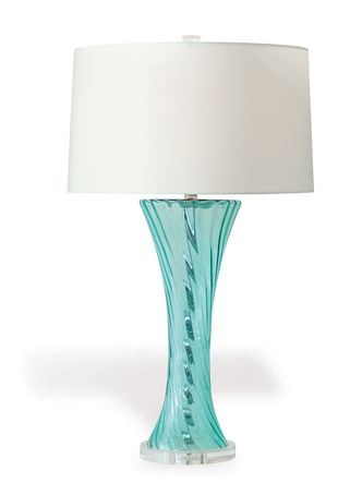 teal glass lamp photo - 2