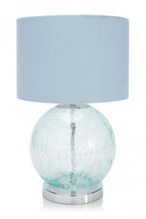teal glass lamp photo - 3