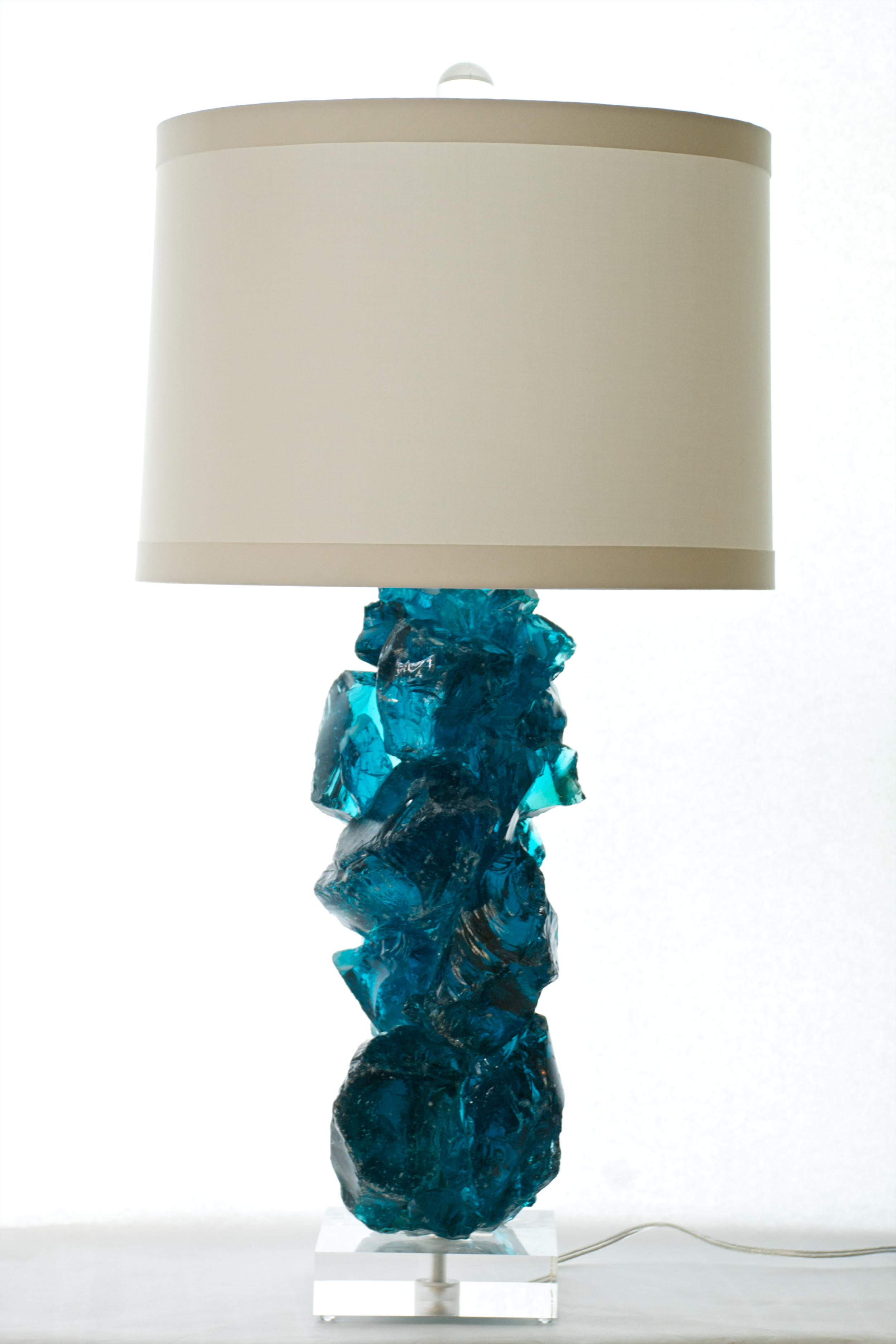 teal glass lamp photo - 6