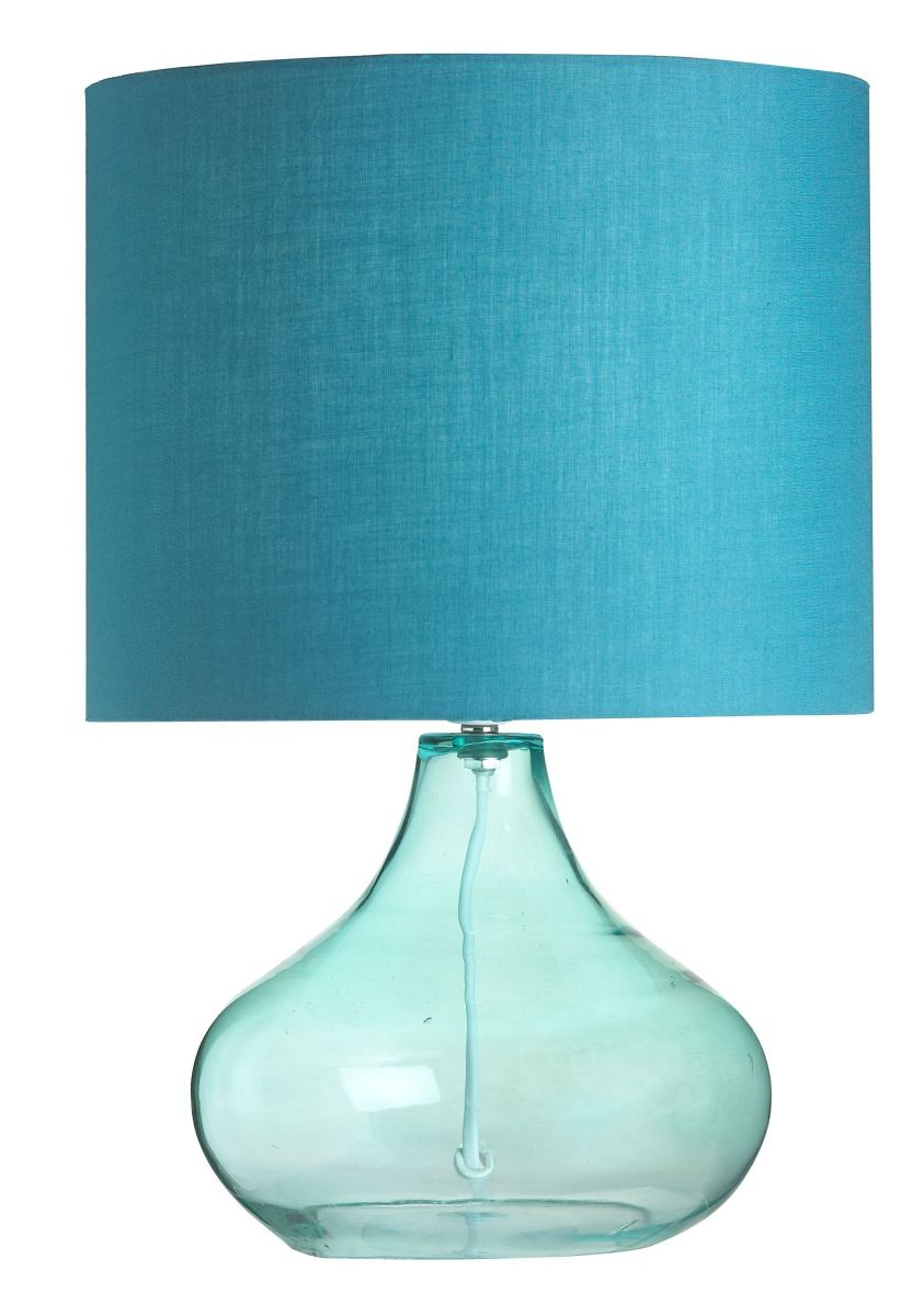 teal glass lamp photo - 9