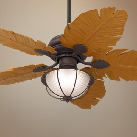 tropical leaf ceiling fan photo - 4
