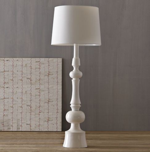 turned wood floor lamp photo - 1