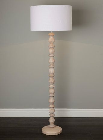 turned wood floor lamp photo - 2