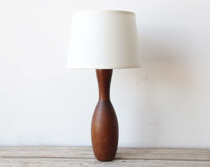 turned wood lamp photo - 7