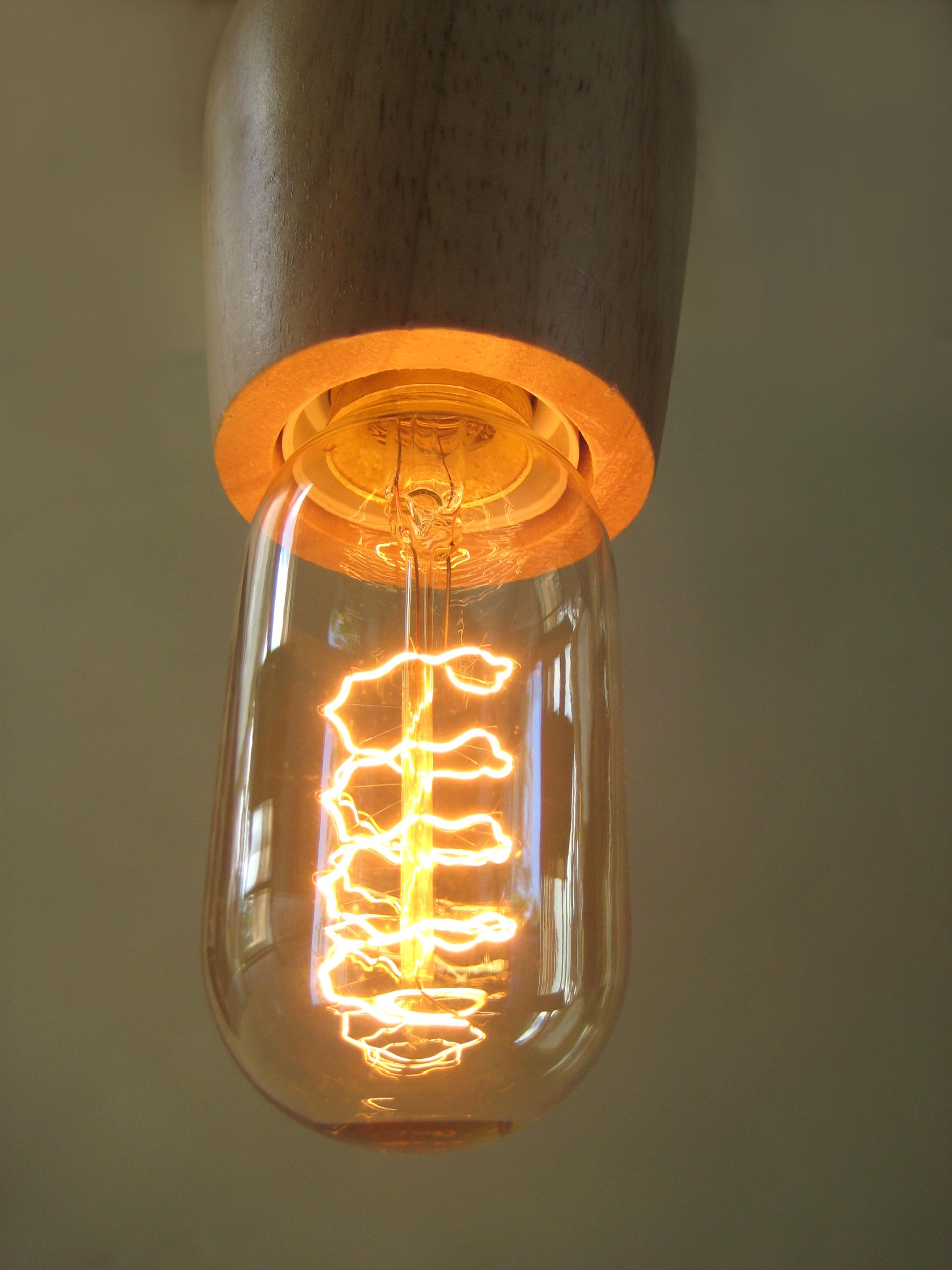 turned wood lamp photo - 9