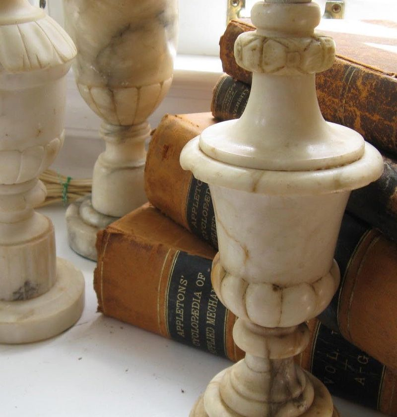 vintage alabaster lamps photo - 2