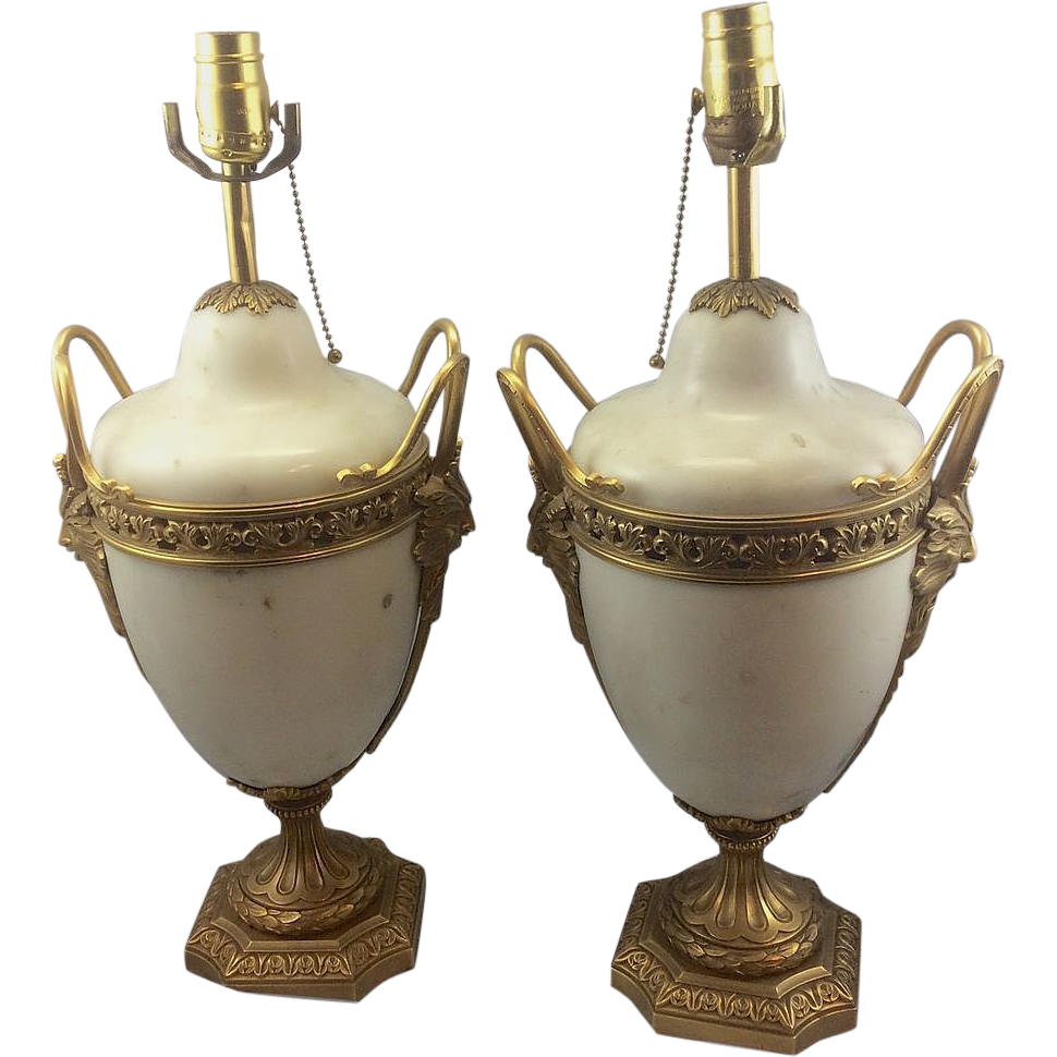 vintage alabaster lamps photo - 9
