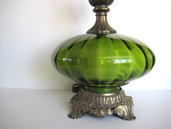 green pottery glass table luster barn lamp base round faceted c products alana