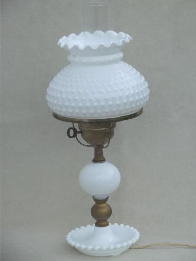 vintage milk glass lamps photo - 2
