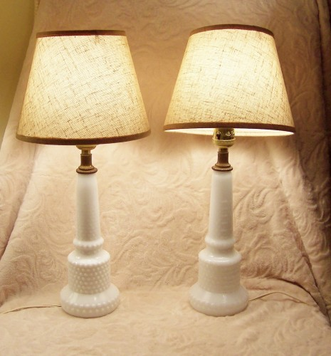 vintage milk glass lamps photo - 7