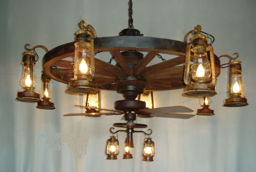 wagon wheel ceiling fan photo - 1