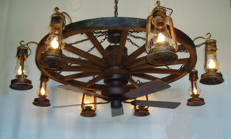 wagon wheel ceiling fan photo - 2