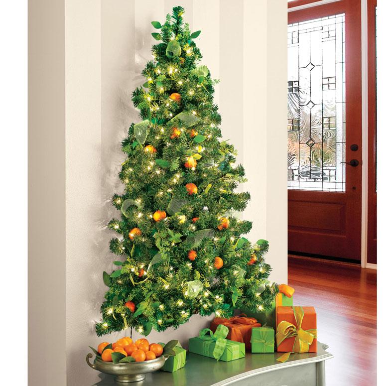 wall christmas tree with lights photo - 1