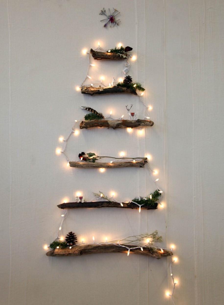 wall christmas tree with lights photo - 10