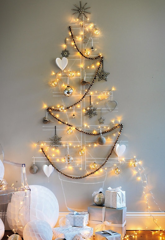 wall christmas tree with lights photo - 7
