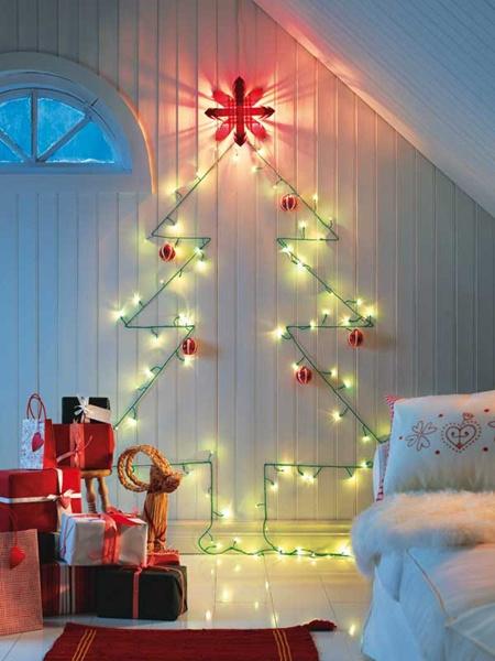 wall christmas tree with lights photo - 9