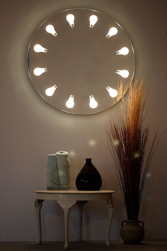wall lighted makeup mirror photo - 9