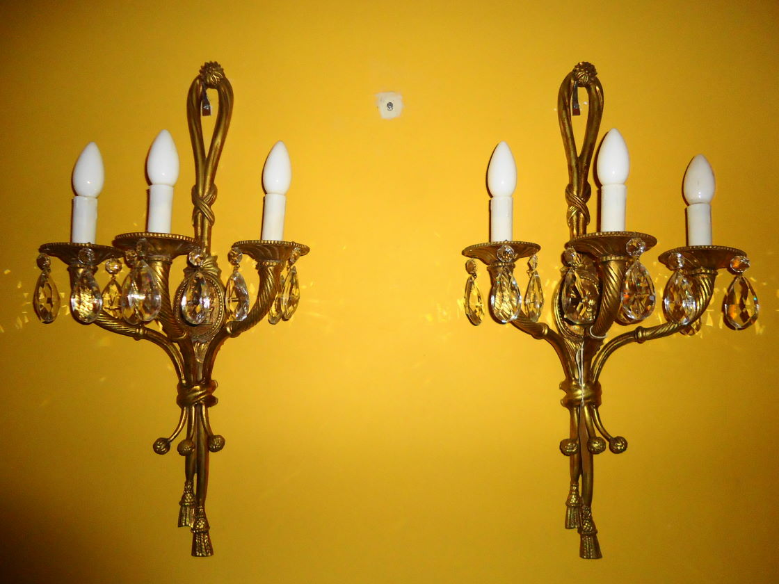 wall lights antique brass photo - 1