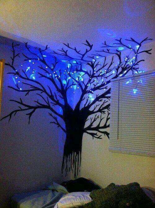 wall tree lights photo - 10