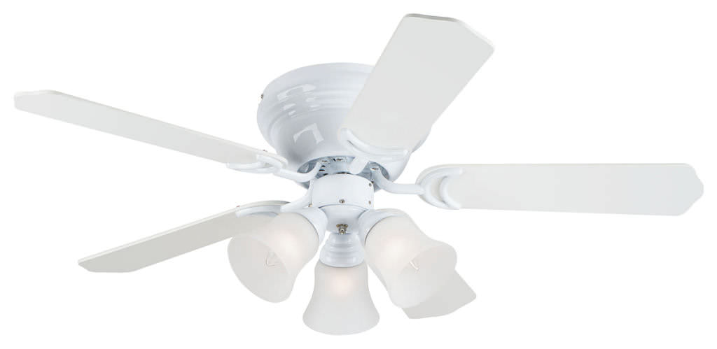 white ceiling fan no light photo - 1