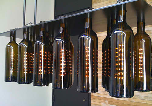 wine bottle ceiling light photo - 3
