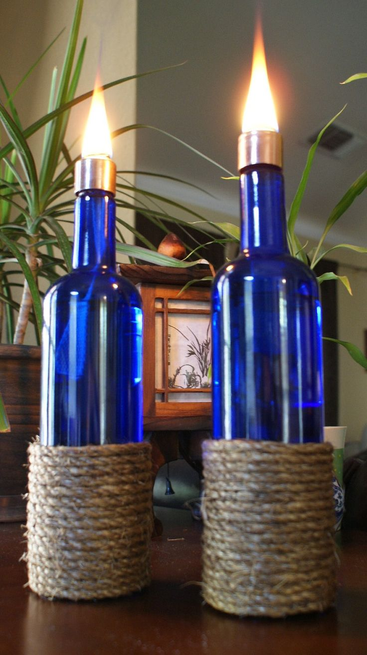 wine bottle oil lamp photo - 7