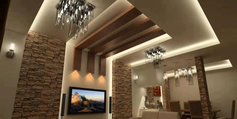 wooden ceiling lights photo - 4