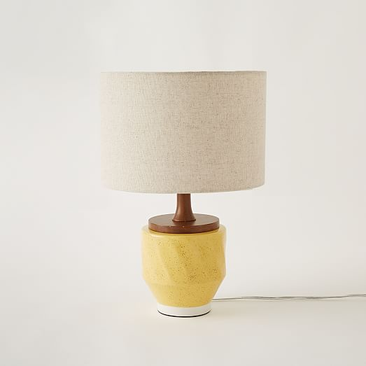 yellow ceramic table lamp photo - 1
