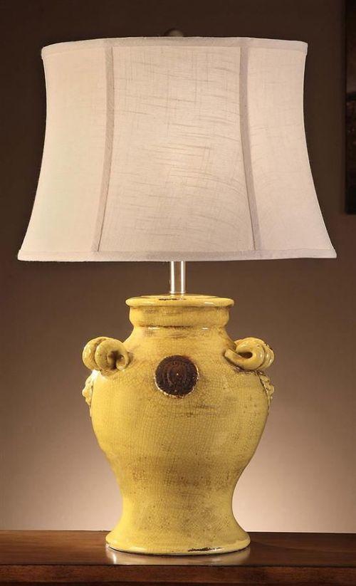 yellow ceramic table lamp photo - 4